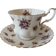 Royal Albert Sweet Violets Pattern Tea Cup and Saucer