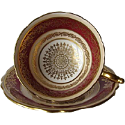 PARAGON Ruby Red with Rich Gilt Overlay DW Tea Cup and Saucer