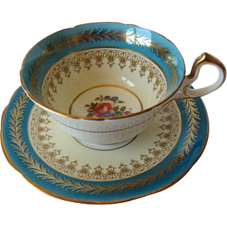 Vintage AYNSLEY Floral Centered Tea Cup and Saucer
