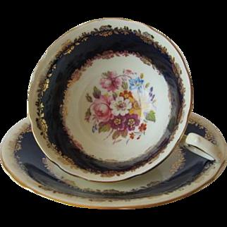 Vintage AYNSLEY Cobalt Banded Tea Cup and Saucer