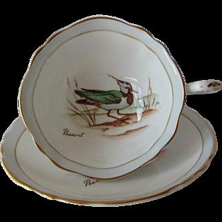 """PARAGON """"Peewit"""" British Birds Series Tea Cup and Saucer"""
