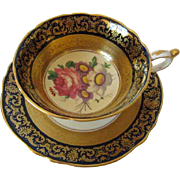 Early PARAGON Cobalt with Rich Gilt Designed Tea Cup & Saucer