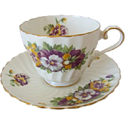 Spiral Fluted AYNSLEY Tea Cup and Saucer with Pansies