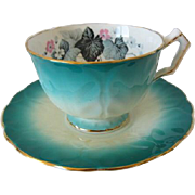 Vintage AYNSLEY Leaf Embossed Teal Colored Tea Cup and Saucer