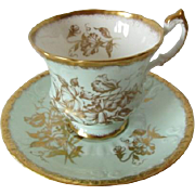 Paragon Mint Green with Gilt Overlay Tea Cup and Saucer