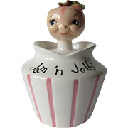 Lefton Anthropomorphic Apple Head Jam 'n Jelly Condiment Jar