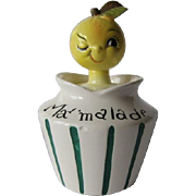 Lefton Anthropomorphic Fruit Head Marmalade Condiment Jar