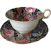 SHELLEY Black Crackle Chintz Tea Cup and Saucer