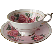 Paragon Gorgeous Pink Roses on Pink Tea Cup and Saucer
