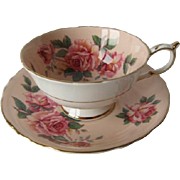 Paragon Stunning Pink Roses on Peach Tea Cup and Saucer