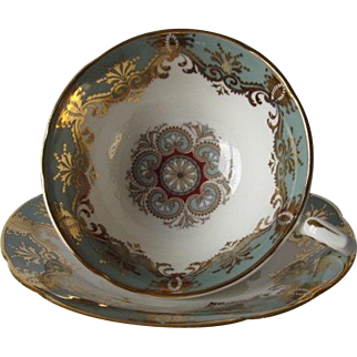 Vintage PARAGON Tea Cup and Saucer Decorative Gilt Overlay