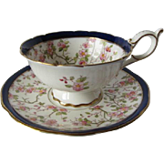 Coalport Hand Painted Cherry Blossom Tea Cup and Saucer c.1891