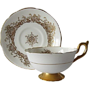 Coalport Elegant Gilt Tea Cup and Saucer