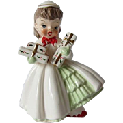 Sweet Christmas Girl Figurine, Napco 1956
