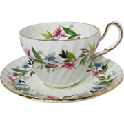 """Spiral Fluted FOLEY China """"GAIETY"""" Patterned Tea Cup and Saucer"""