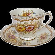 "Early Royal Albert Hand Decorated ""Gem"" Tea Cup & Saucer"