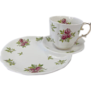 "Royal Albert Early Hand Decorated ""ROSE"" Patterned Snack Set"