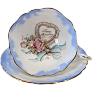 "Unique Paragon ""Happy Anniversary"" Tea Cup & Saucer Set"