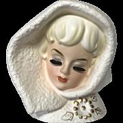 Vintage 1963 Rubens Snow Lady Head Vase Planter ~ Model 493M