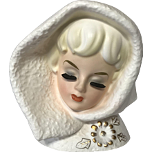 Vintage 1963 Rubens Snow Lady Head Vase Planter ~ Model 493M