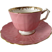 AYNSLEY Dusty Rose - Petal Embossed Cup and Saucer