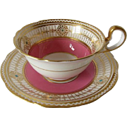 Early AYNSLEY Hot Pink with Gilded Hearts Cup and Saucer