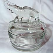 Vintage Jeannette Glass Elephant Top Powder Jar