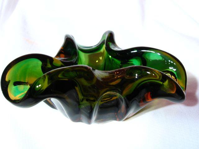 Vintage Czech Multi Hued Art Glass Bowl