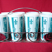 Eight Vintage Hazel Atlas Fleur De Lis Tumblers With Caddy