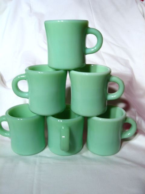 6 Fire King Jadite Jade-ite G212 Heavy C Handle Coffee Mugs