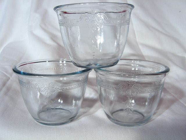 Set Of 3 Fire King Sapphire Blue Philbe 6oz Deep Custard Cups