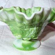 Westmoreland Green Slag Paneled Grape Crimped Candy Bowl