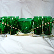Anchor Hocking Forest Green Tumblers Ice Bowl And Carrying Tray