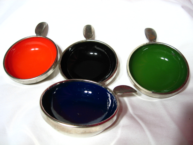 Nickel Plated And Enameled Bridge Ashtray Set ~ 1930's