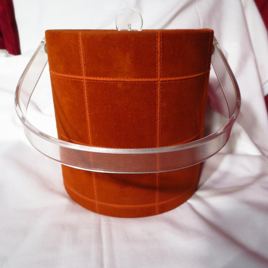 Retro 1970's Lehar Suede and Lucite Ice Bucket