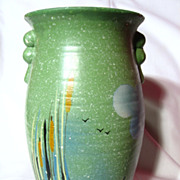 Vintage Howard Pottery Brentleigh Ware Lotus & Cattail Vase