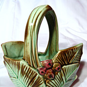Vintage McCoy Leaf And Berry Basket