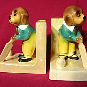 Vintage 1930's Czech Lustreware Cricket Dog Bookends