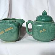 Vintage Dryden Pottery Kansas Souvenir Creamer And Sugar