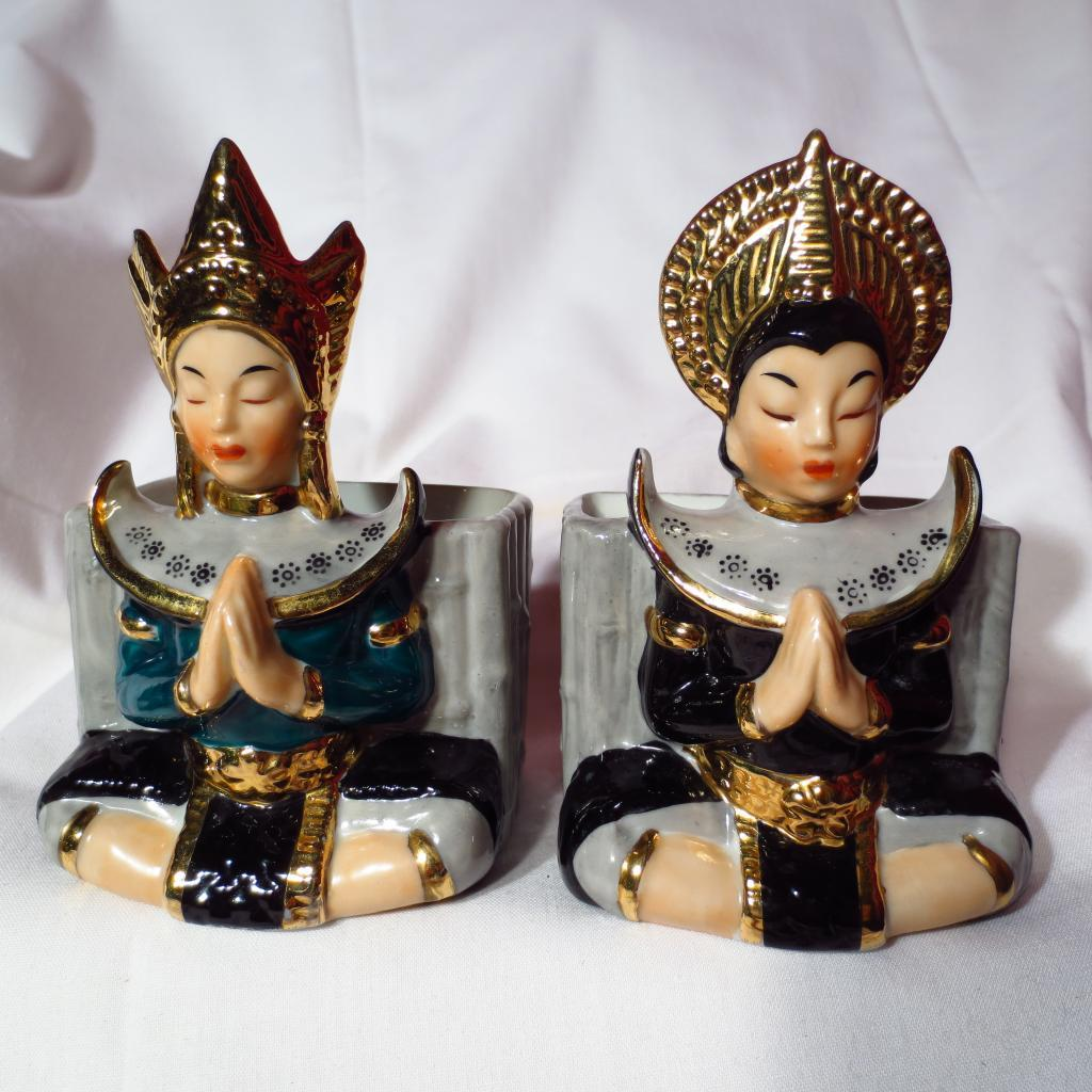 L'Amour China Handpainted Temple Goddess Planter Bookends