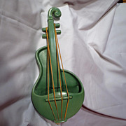 Vintage Red Wing Matte Green Violin Wall Pocket - M1484