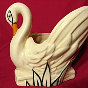 McCoy Hand Decorated Swan Planter Vase