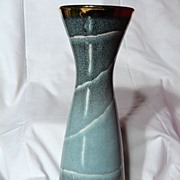 West German Dumler & Breiden Incised Decorated Mottled Blue Vase