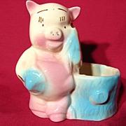 Vintage Porky Pig Figural Pottery Planter