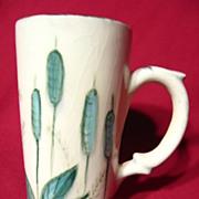 Eleanor Studio Pottery Hand Painted Cattails Patio Mug
