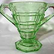 Indiana Glass Green Art Deco Tea Room Open Sugar