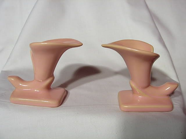 Royal Haeger Satin Coral Cornucopia Candle Holders