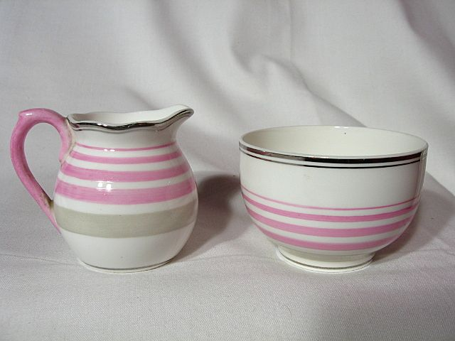 Mintons Pink Banded Mini Creamer And Open Sugar