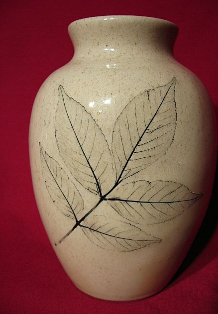 Unusual Nemadji Oak Leaf Vase