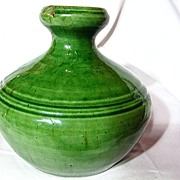 Arts & Crafts Belgium Green Bulbous Vase
